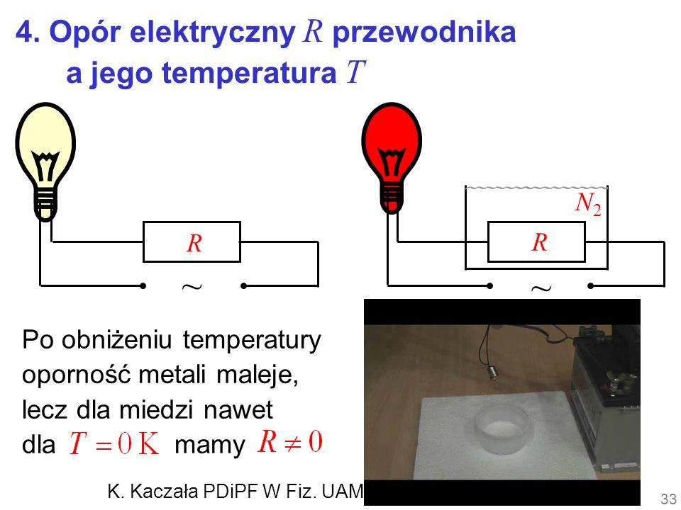 ~ ~ 4. Opór elektryczny R przewodnika a jego temperatura T N2 R R