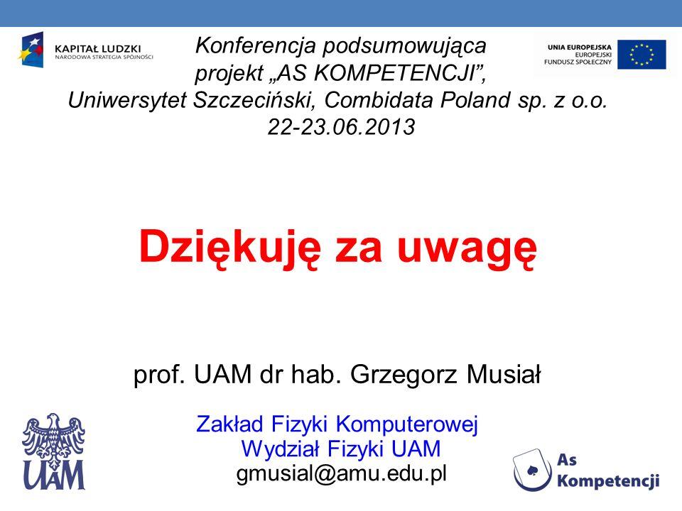 Dziękuję za uwagę prof. UAM dr hab. Grzegorz Musiał