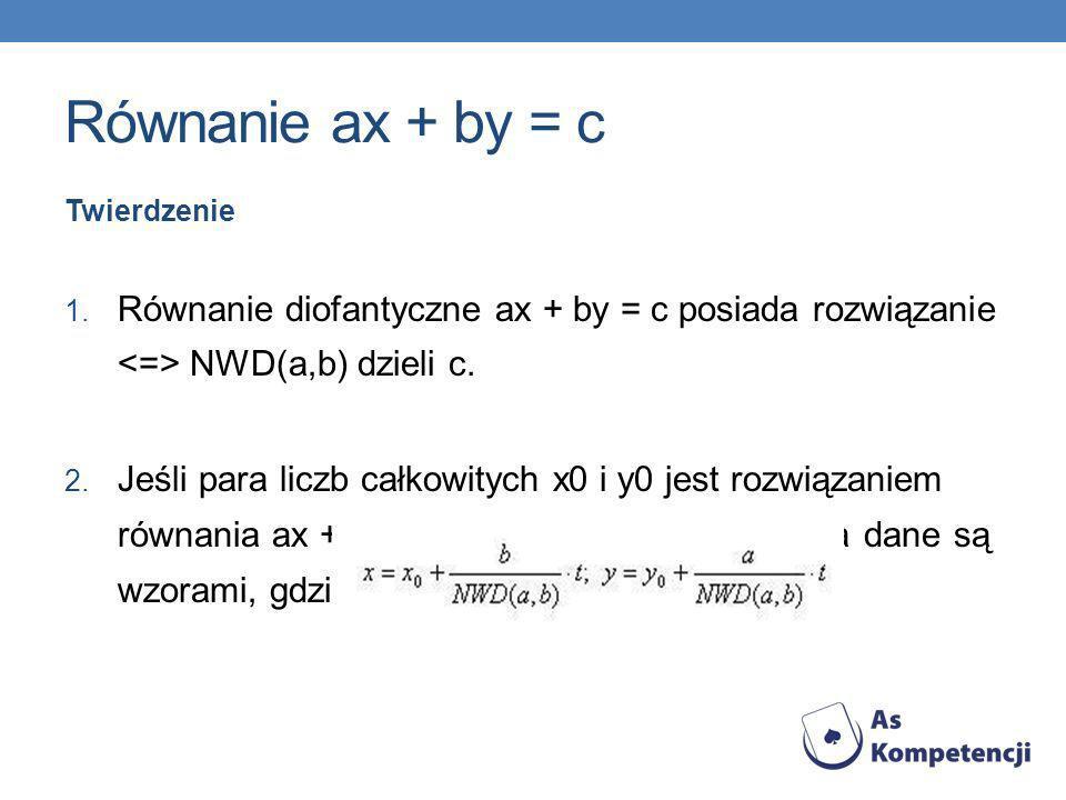 Równanie ax + by = c Twierdzenie. Równanie diofantyczne ax + by = c posiada rozwiązanie <=> NWD(a,b) dzieli c.