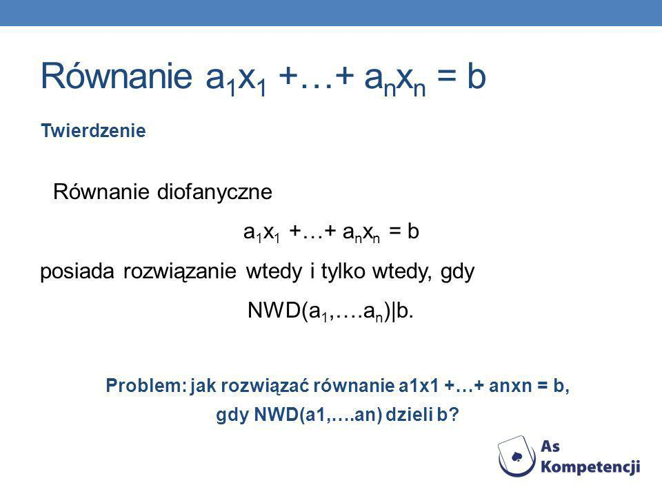 Równanie a1x1 +…+ anxn = b Równanie diofanyczne a1x1 +…+ anxn = b