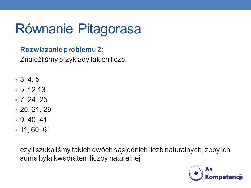 Równanie Pitagorasa Rozwiązanie problemu 2: