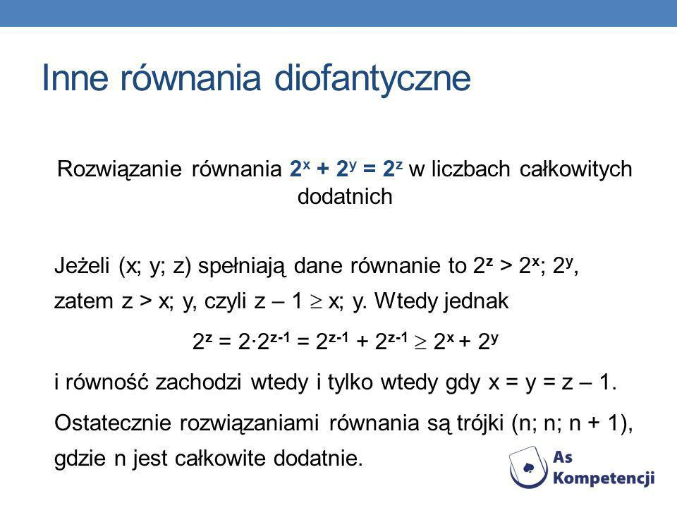 Inne równania diofantyczne