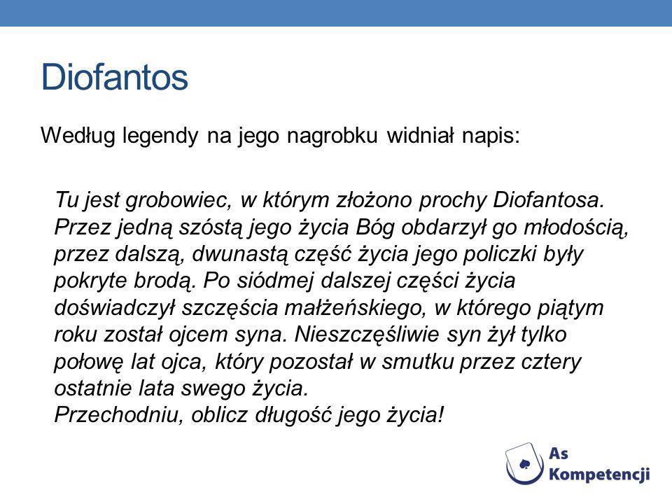 Diofantos Według legendy na jego nagrobku widniał napis: