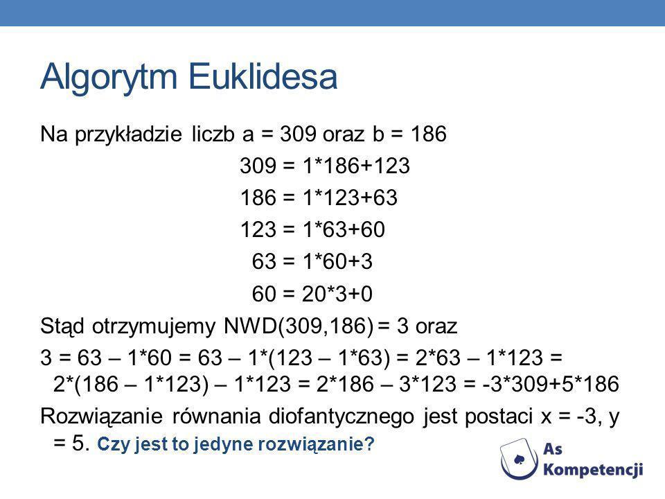Algorytm Euklidesa Na przykładzie liczb a = 309 oraz b = 186