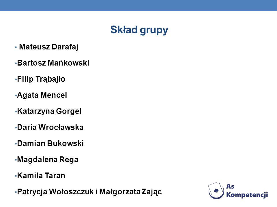 Skład grupy Mateusz Darafaj Bartosz Mańkowski Filip Trąbajło