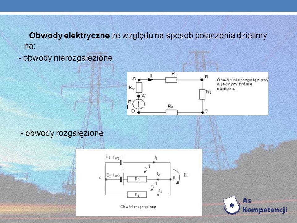 Obwody elektryczne ze względu na sposób połączenia dzielimy na: