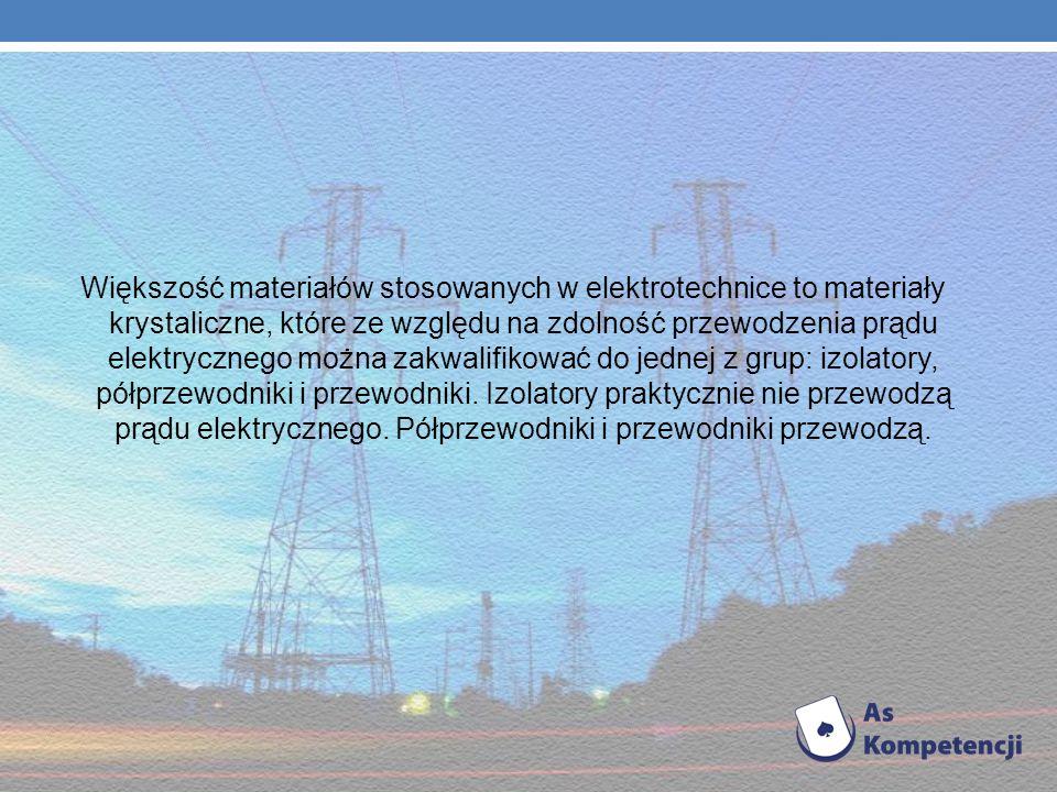 Większość materiałów stosowanych w elektrotechnice to materiały krystaliczne, które ze względu na zdolność przewodzenia prądu elektrycznego można zakwalifikować do jednej z grup: izolatory, półprzewodniki i przewodniki.
