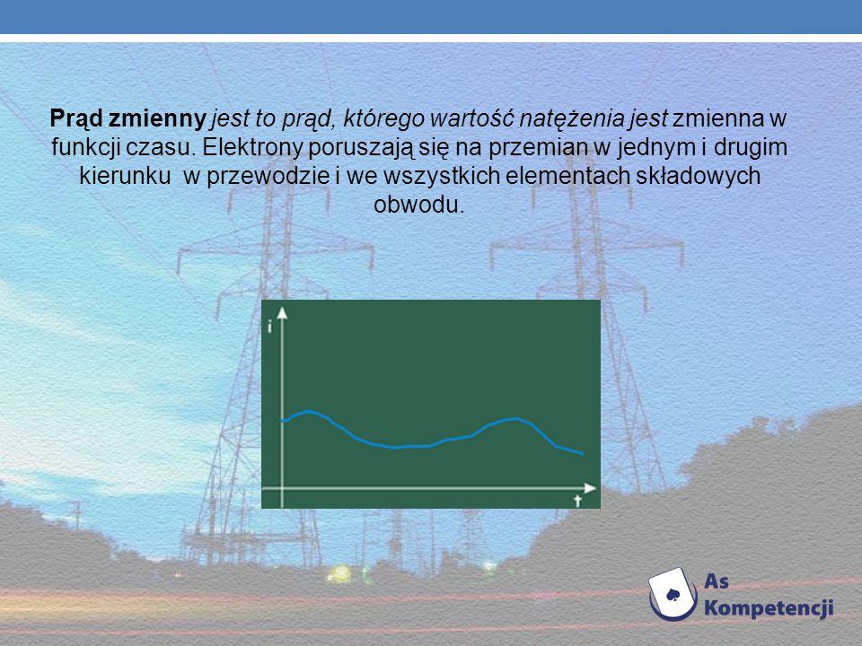 Prąd zmienny jest to prąd, którego wartość natężenia jest zmienna w funkcji czasu.