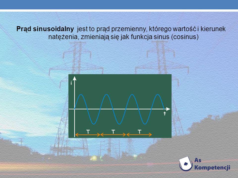 Prąd sinusoidalny jest to prąd przemienny, którego wartość i kierunek natężenia, zmieniają się jak funkcja sinus (cosinus)