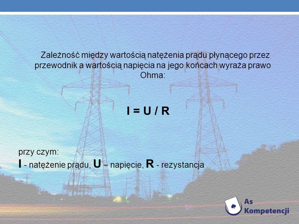 I - natężenie prądu, U – napięcie, R - rezystancja
