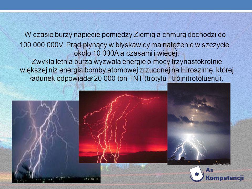W czasie burzy napięcie pomiędzy Ziemią a chmurą dochodzi do