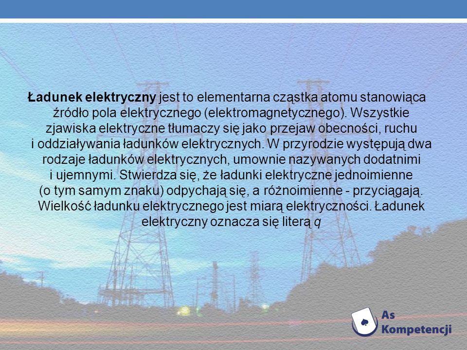 Ładunek elektryczny jest to elementarna cząstka atomu stanowiąca źródło pola elektrycznego (elektromagnetycznego).
