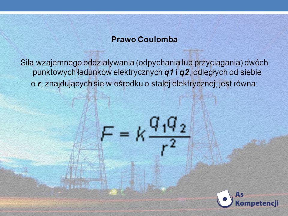 o r, znajdujących się w ośrodku o stałej elektrycznej, jest równa: