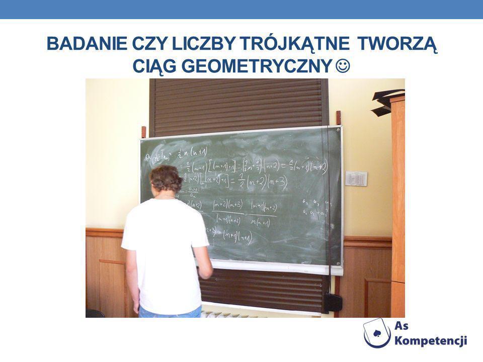 Badanie czy liczby trójkątne tworzą ciąg geometryczny 