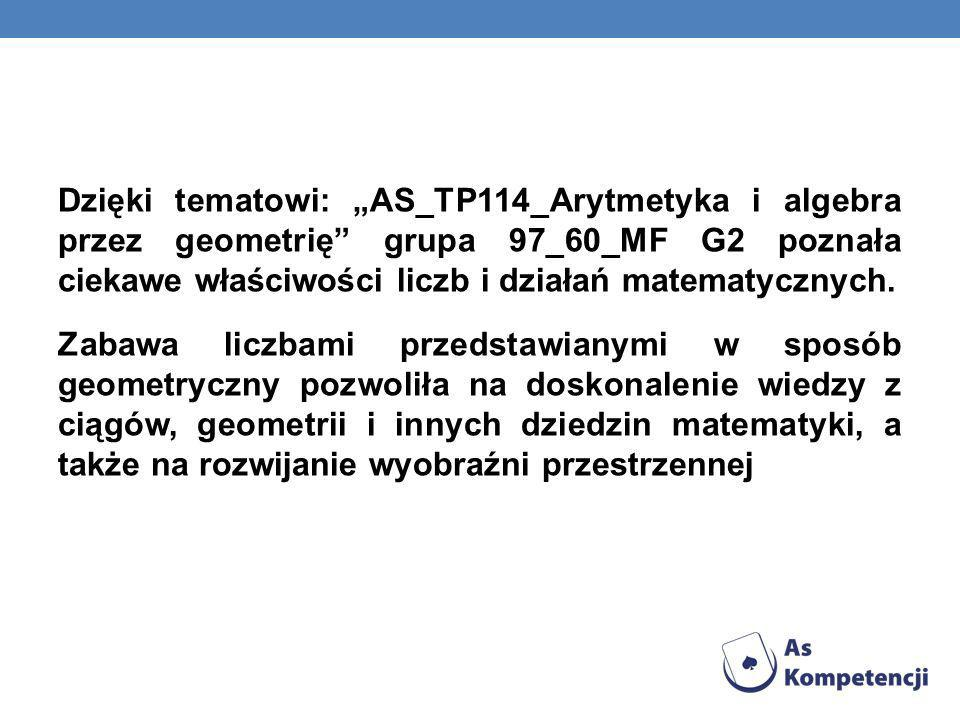 """Dzięki tematowi: """"AS_TP114_Arytmetyka i algebra przez geometrię grupa 97_60_MF G2 poznała ciekawe właściwości liczb i działań matematycznych."""