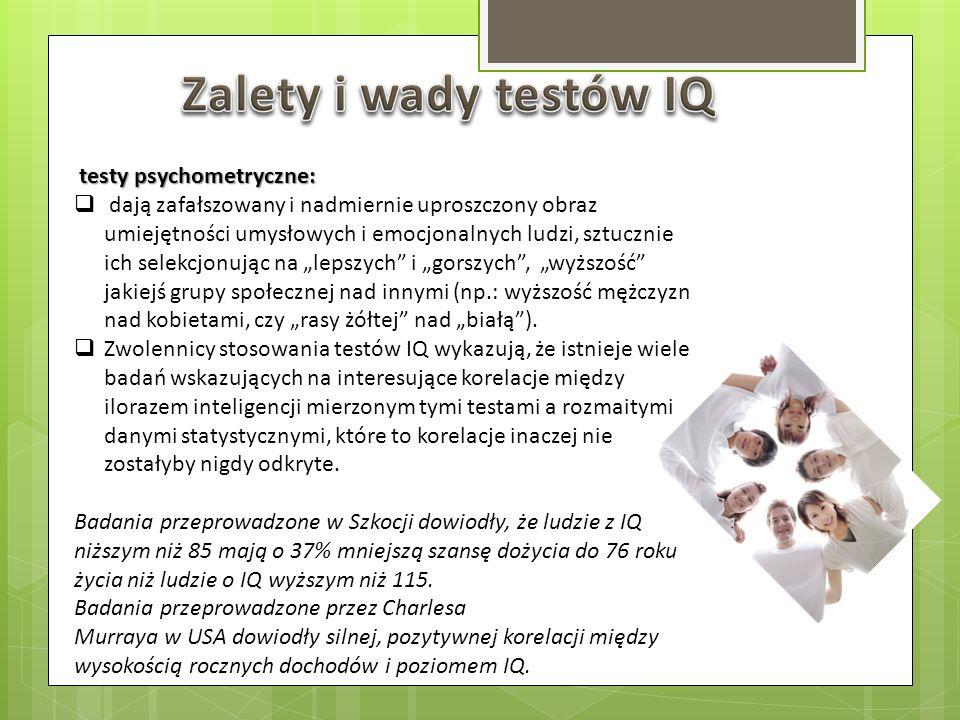 Zalety i wady testów IQ testy psychometryczne: