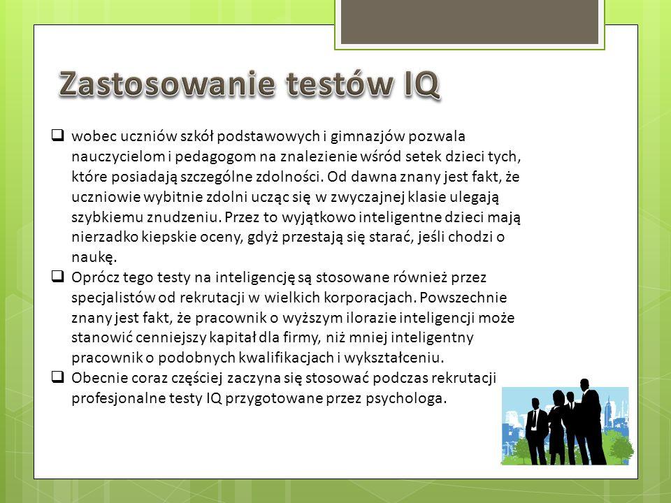 Zastosowanie testów IQ