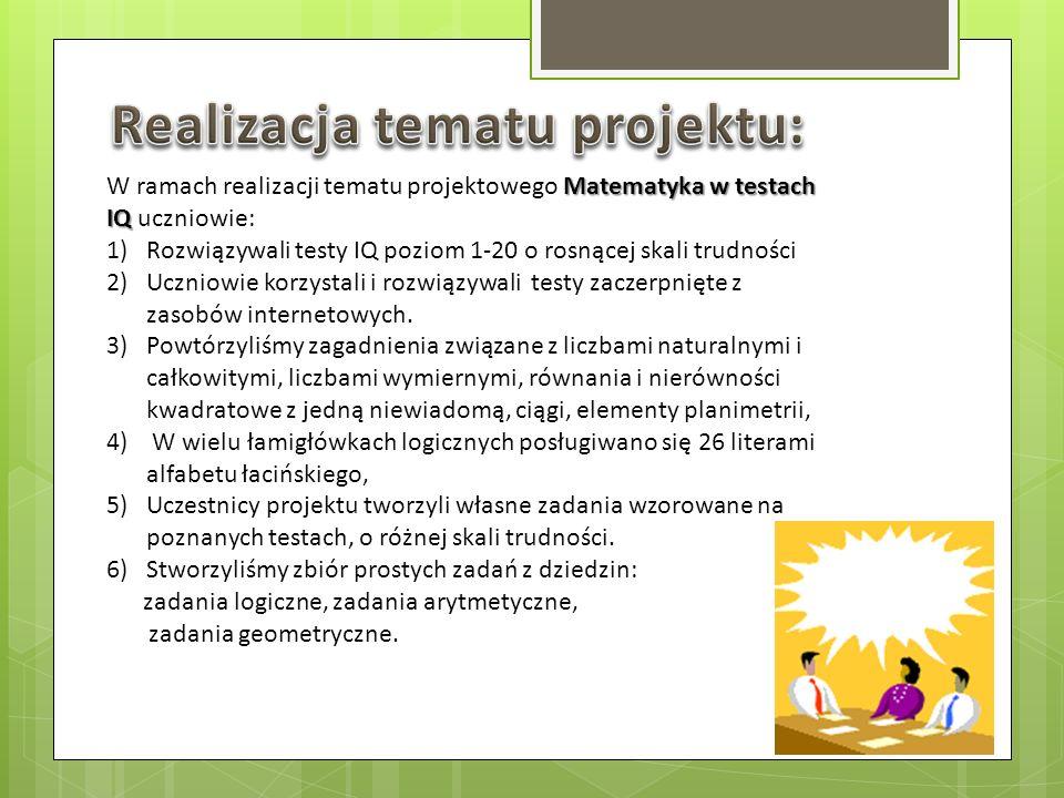 Realizacja tematu projektu: