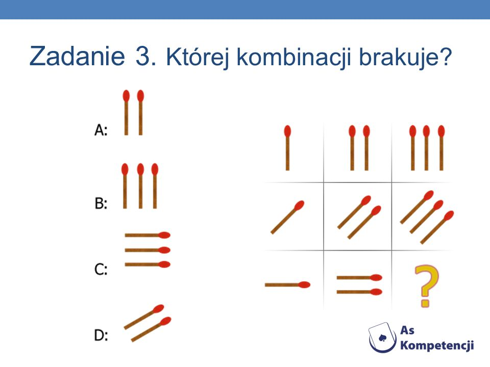 Zadanie 3. Której kombinacji brakuje