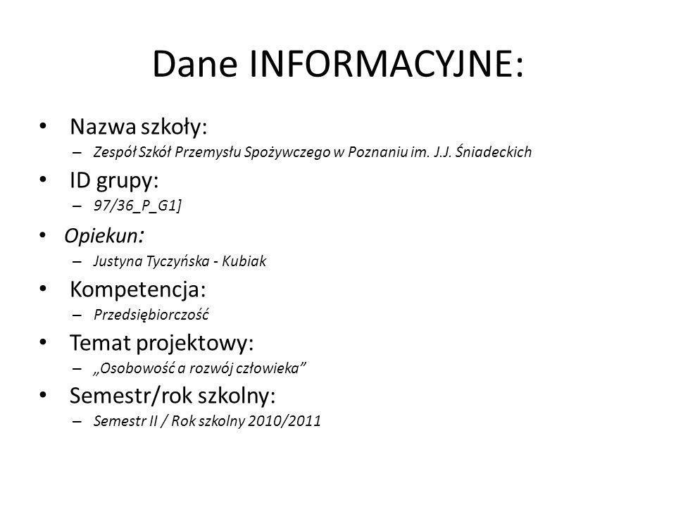 Dane INFORMACYJNE: Nazwa szkoły: ID grupy: Kompetencja:
