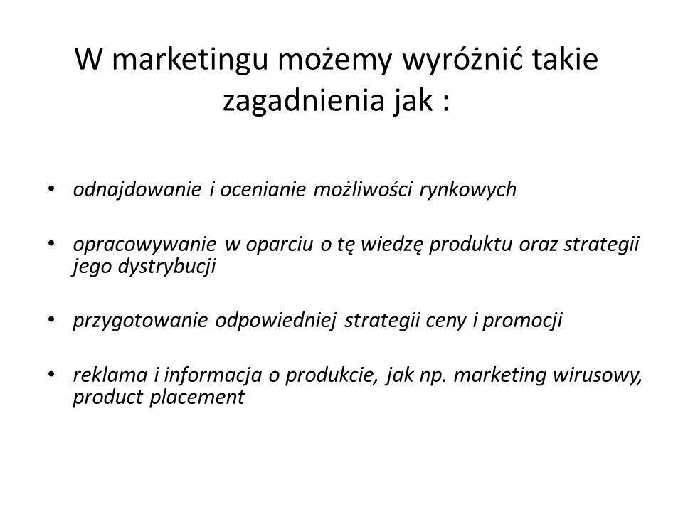 W marketingu możemy wyróżnić takie zagadnienia jak :