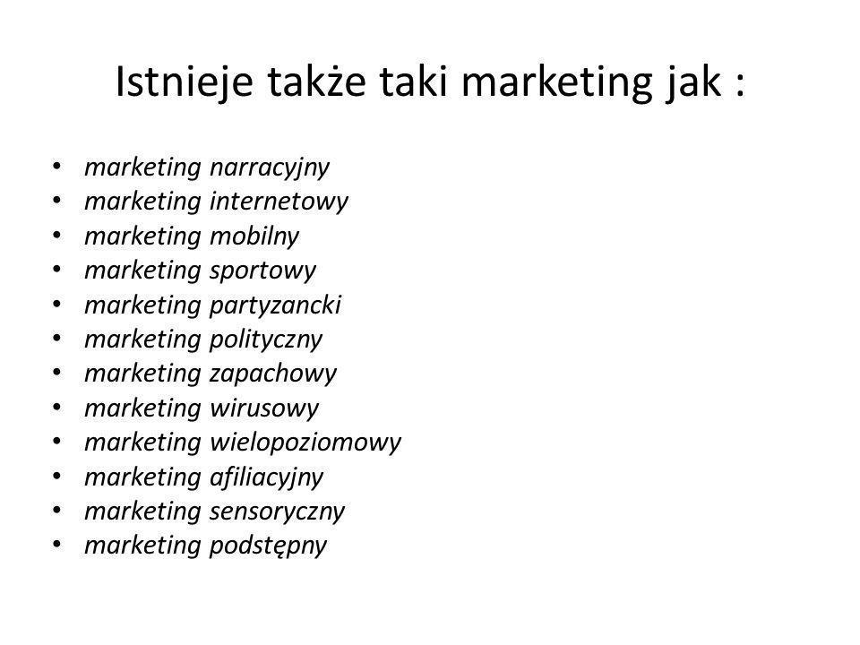 Istnieje także taki marketing jak :