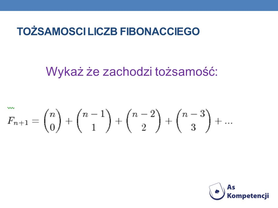 Tożsamosci liczb fibonacciego