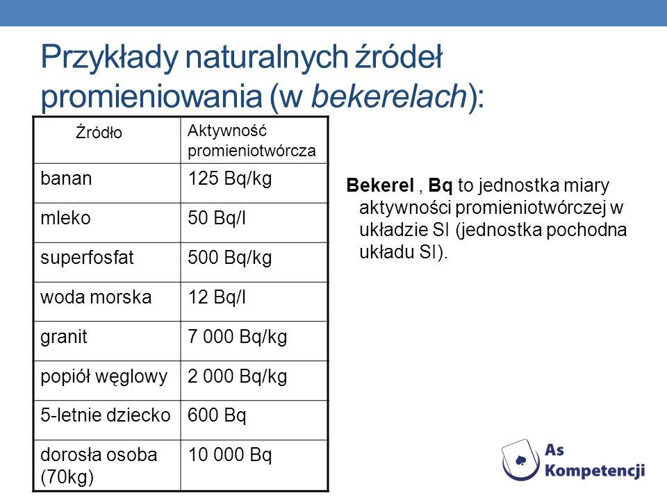 Przykłady naturalnych źródeł promieniowania (w bekerelach):