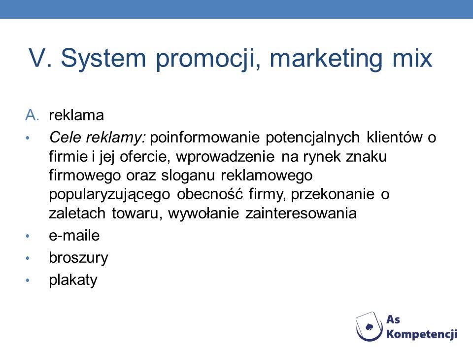 V. System promocji, marketing mix