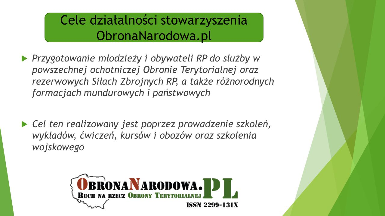 Cele działalności stowarzyszenia ObronaNarodowa.pl