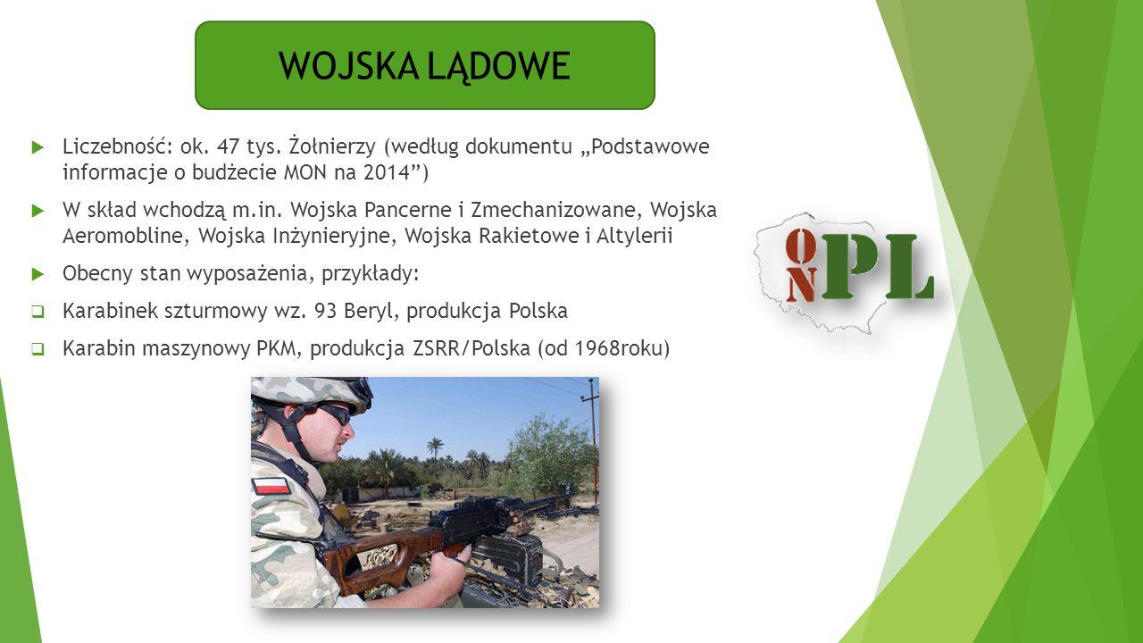"""WOJSKA LĄDOWE Liczebność: ok. 47 tys. Żołnierzy (według dokumentu """"Podstawowe informacje o budżecie MON na 2014 )"""