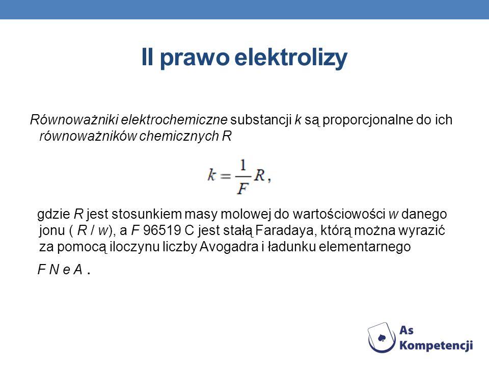 II prawo elektrolizy Równoważniki elektrochemiczne substancji k są proporcjonalne do ich równoważników chemicznych R.
