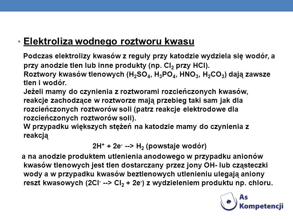 2H+ + 2e- --> H2 (powstaje wodór)