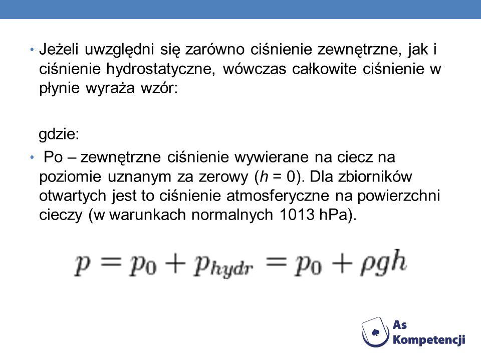 Jeżeli uwzględni się zarówno ciśnienie zewnętrzne, jak i ciśnienie hydrostatyczne, wówczas całkowite ciśnienie w płynie wyraża wzór: