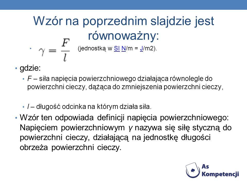 Wzór na poprzednim slajdzie jest równoważny: