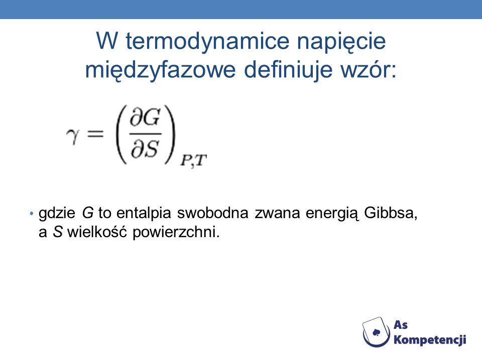 W termodynamice napięcie międzyfazowe definiuje wzór: