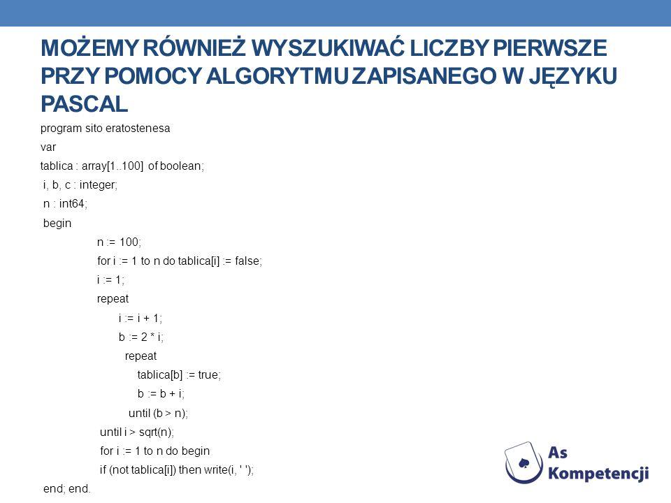 Możemy również wyszukiwać liczby pierwsze przy pomocy algorytmu zapisanego w języku pascal
