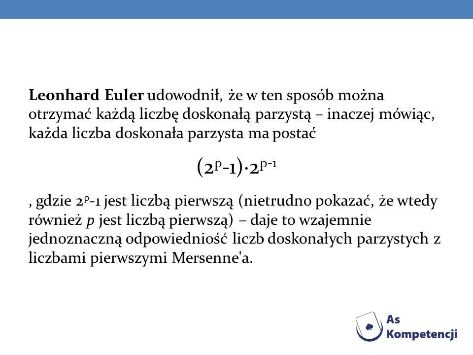 Leonhard Euler udowodnił, że w ten sposób można otrzymać każdą liczbę doskonałą parzystą – inaczej mówiąc, każda liczba doskonała parzysta ma postać