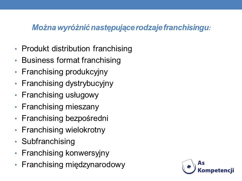 Można wyróżnić następujące rodzaje franchisingu: