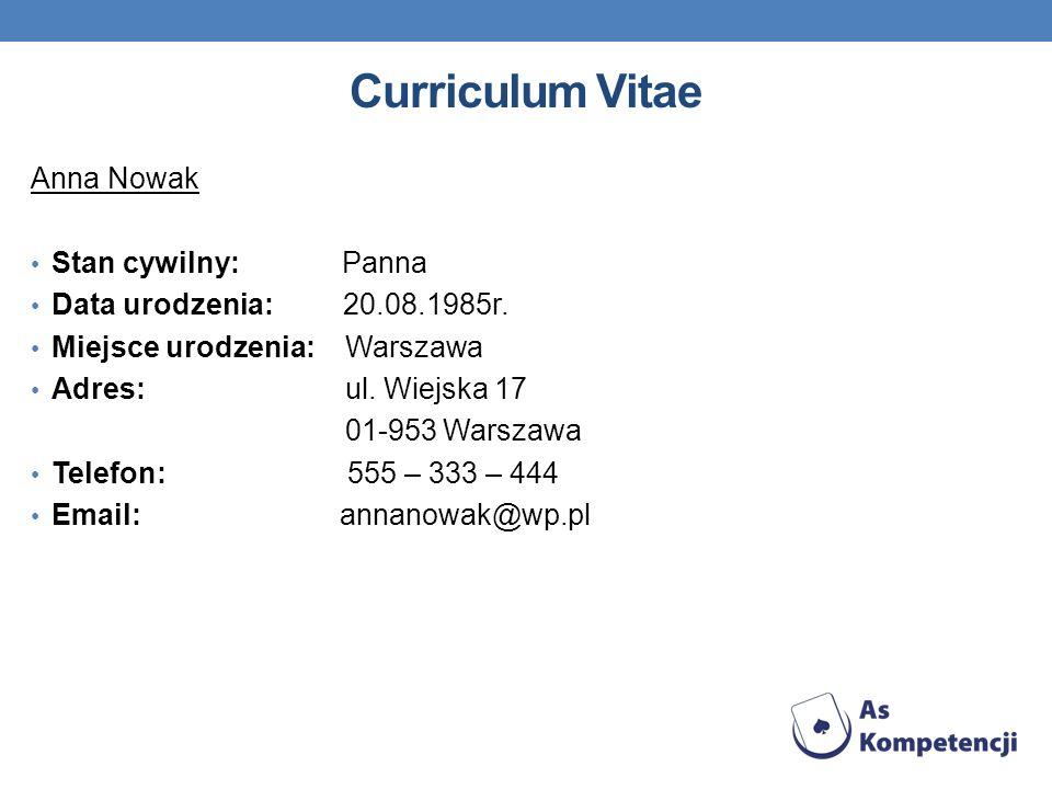 Curriculum Vitae Anna Nowak Stan cywilny: Panna