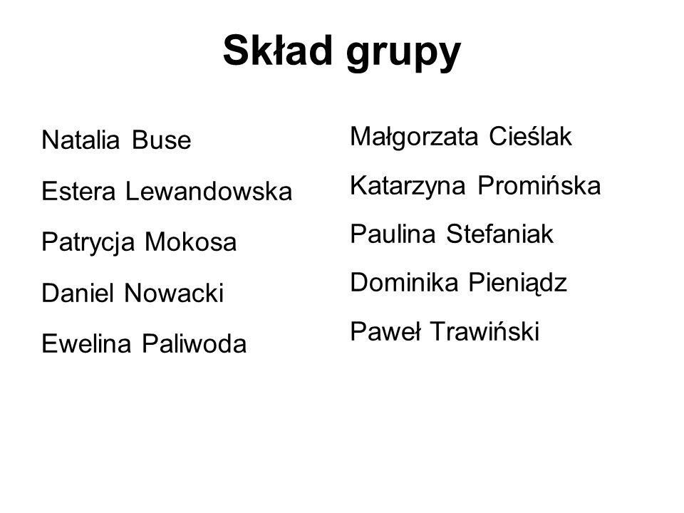 Skład grupy Natalia Buse Małgorzata Cieślak Estera Lewandowska
