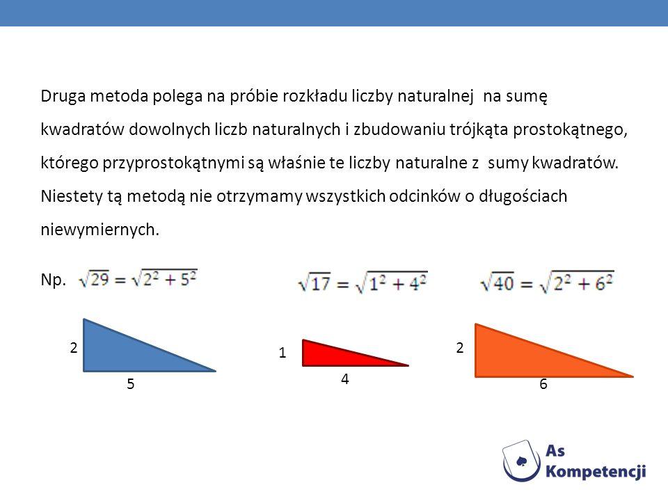 Druga metoda polega na próbie rozkładu liczby naturalnej na sumę kwadratów dowolnych liczb naturalnych i zbudowaniu trójkąta prostokątnego, którego przyprostokątnymi są właśnie te liczby naturalne z sumy kwadratów. Niestety tą metodą nie otrzymamy wszystkich odcinków o długościach niewymiernych. Np.