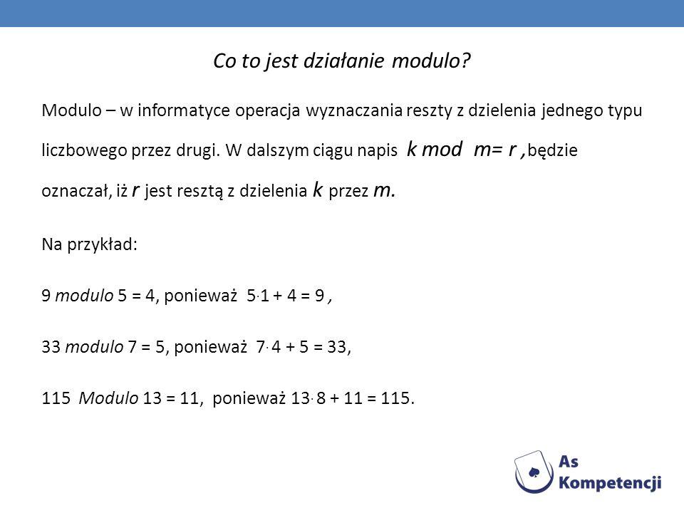 Co to jest działanie modulo
