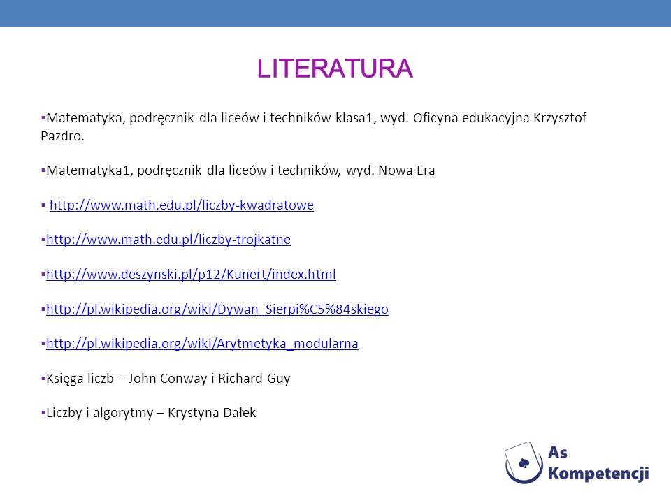 literatura Matematyka, podręcznik dla liceów i techników klasa1, wyd. Oficyna edukacyjna Krzysztof Pazdro.