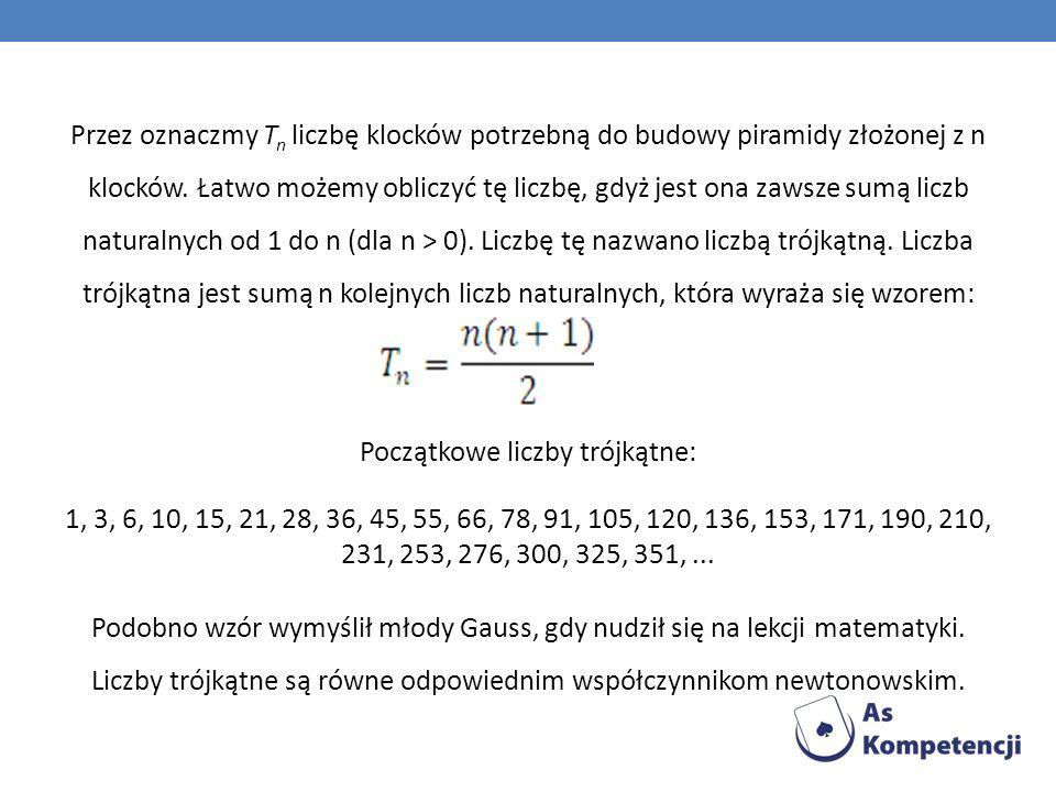 Przez oznaczmy Tn liczbę klocków potrzebną do budowy piramidy złożonej z n klocków.