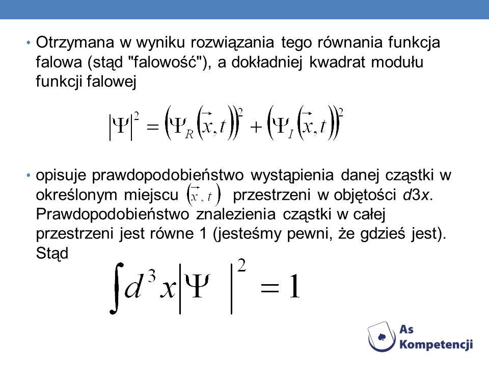 Otrzymana w wyniku rozwiązania tego równania funkcja falowa (stąd falowość ), a dokładniej kwadrat modułu funkcji falowej