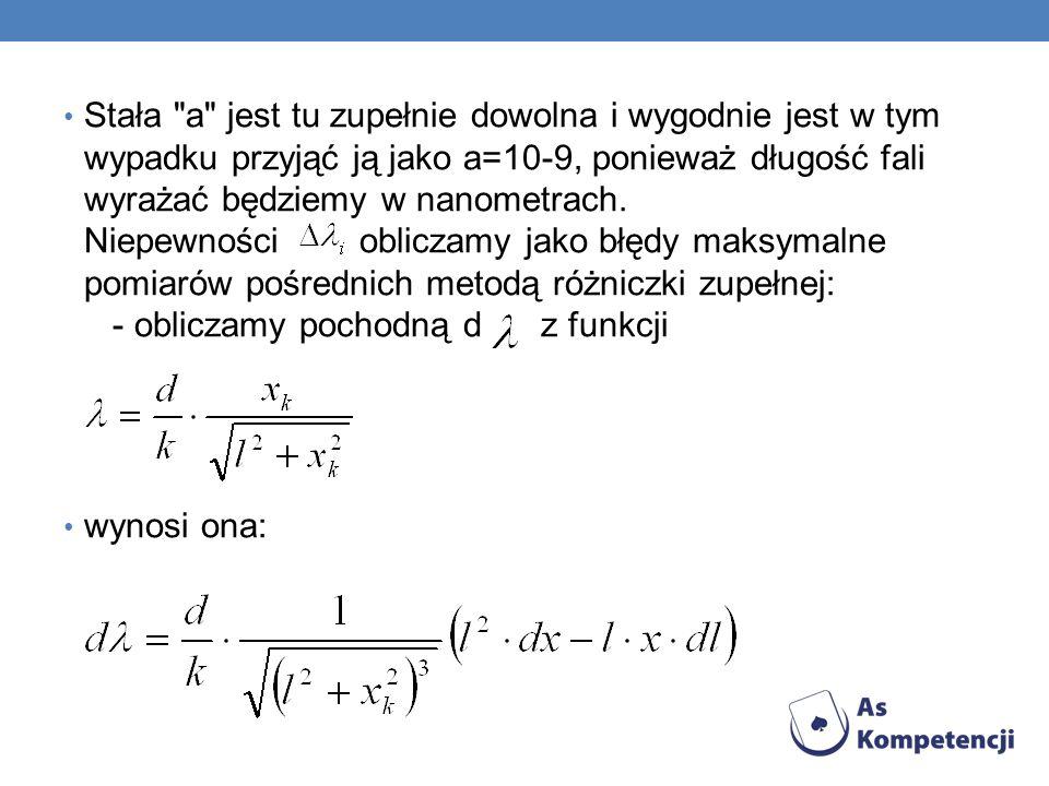 Stała a jest tu zupełnie dowolna i wygodnie jest w tym wypadku przyjąć ją jako a=10-9, ponieważ długość fali wyrażać będziemy w nanometrach. Niepewności obliczamy jako błędy maksymalne pomiarów pośrednich metodą różniczki zupełnej: - obliczamy pochodną d z funkcji