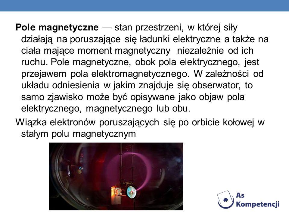 Pole magnetyczne — stan przestrzeni, w której siły działają na poruszające się ładunki elektryczne a także na ciała mające moment magnetyczny niezależnie od ich ruchu. Pole magnetyczne, obok pola elektrycznego, jest przejawem pola elektromagnetycznego. W zależności od układu odniesienia w jakim znajduje się obserwator, to samo zjawisko może być opisywane jako objaw pola elektrycznego, magnetycznego lub obu.