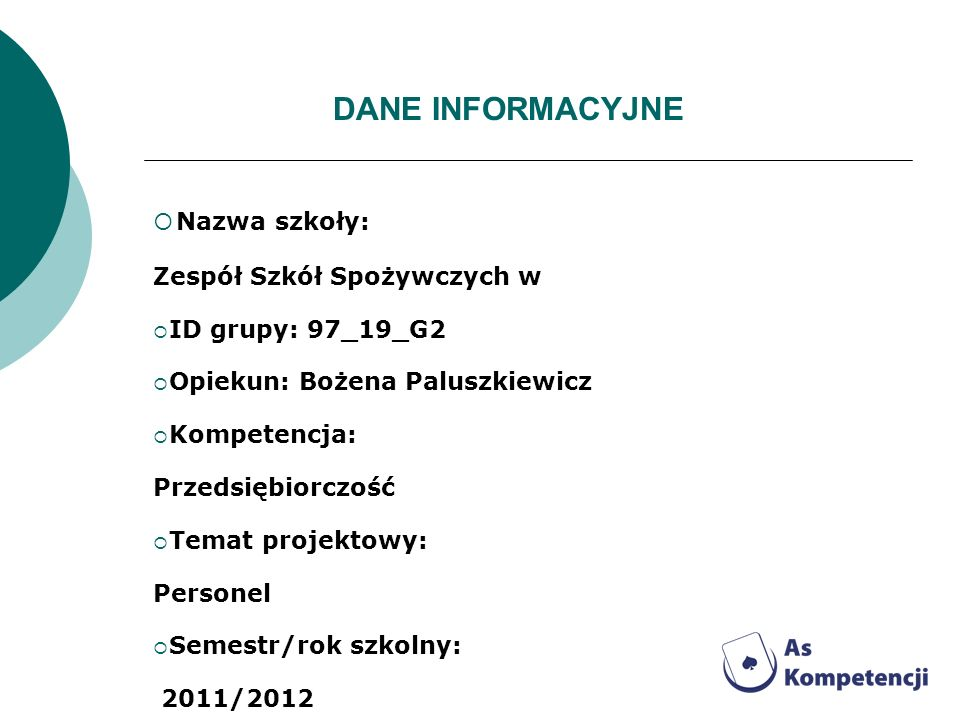 Nazwa szkoły: DANE INFORMACYJNE Zespół Szkół Spożywczych w