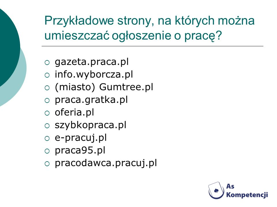 Przykładowe strony, na których można umieszczać ogłoszenie o pracę